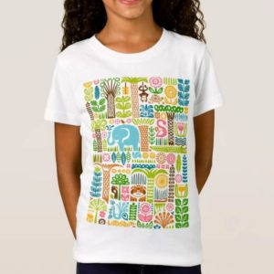 day in the jungle t-shirt kids girls fine jersey colorful animals pattern