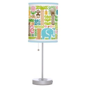 day in the jungle table lamp standing colorful animals pattern