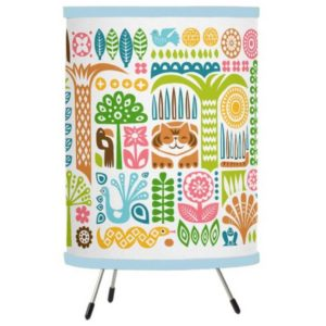 day in the jungle table lamp tripod colorful animals pattern