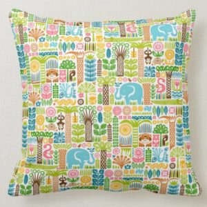 day in the jungle throw pillow 16x16 colorful animals pattern