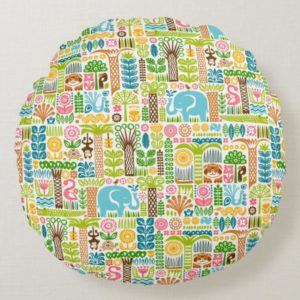 day in the jungle throw pillow round colorful animals pattern