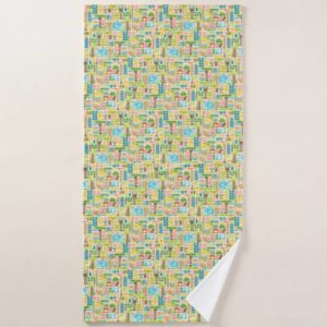 day in the jungle towel bath colorful animals pattern