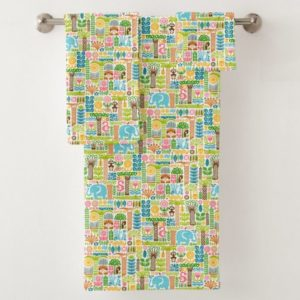 day in the jungle towel bath set colorful animals pattern