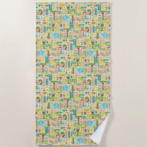 day in the jungle towel beach colorful animals pattern