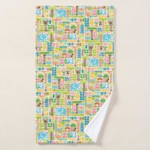 day in the jungle towel hand colorful animals pattern
