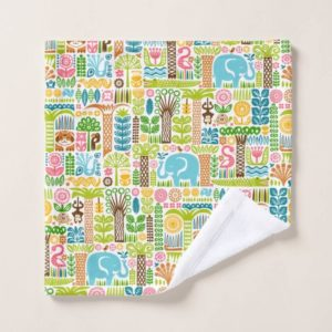 day in the jungle towel wash cloth colorful animals pattern
