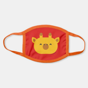 face mask giraffe cute animal friends red - orange strap