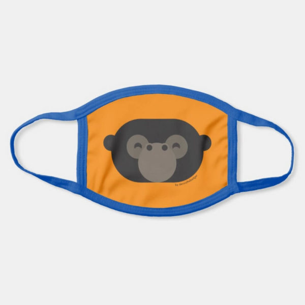 face mask gorilla cute animal friends orange - dark blue strap