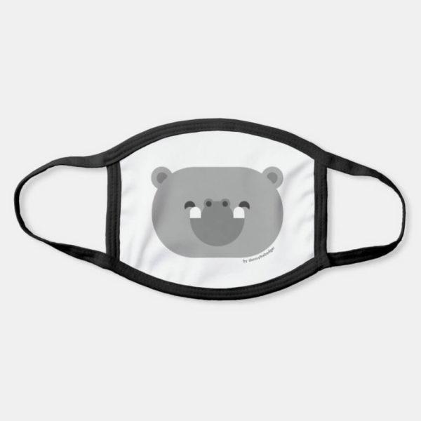 face mask hippo cute animal friends