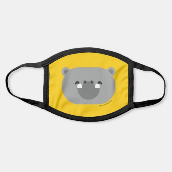 face mask hippo cute animal friends yellow
