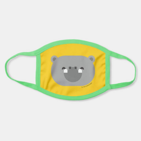 face mask hippo cute animal friends yellow - light green strap