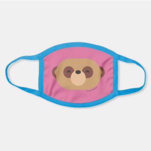 face mask meerkat cute animal friends pink - light blue strap