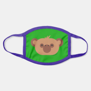 face mask monkey cute animal friends green - purple strap