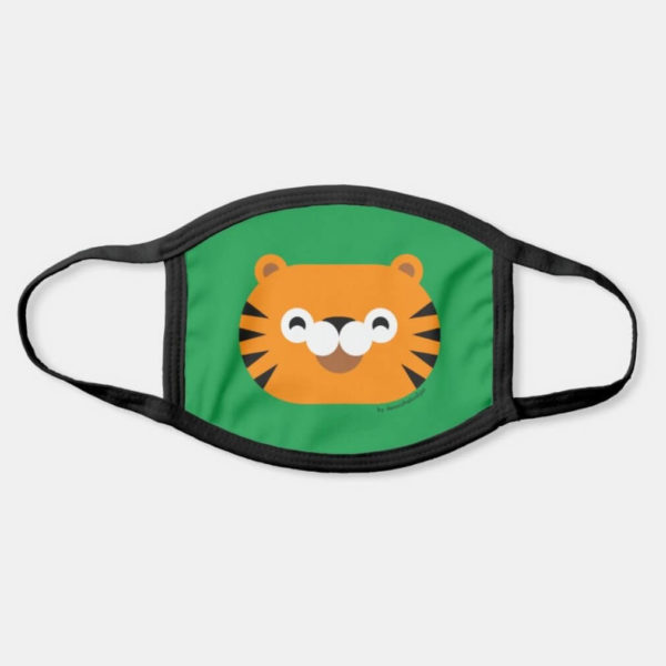face mask tiger cute animal friends green