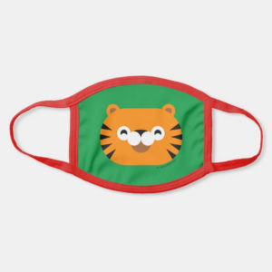 face mask tiger cute animal friends green - red strap