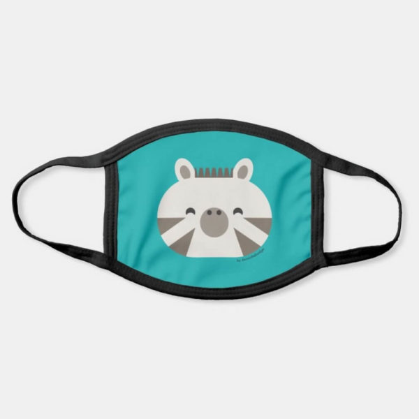 face mask zebra cute animal friends teal turquoise