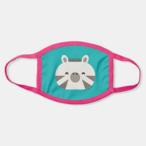 face mask zebra cute animal friends teal turquoise - pink strap