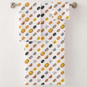 jungle animal friends kids bathroom towel set cute modern minimalist cartoon
