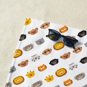 jungle animal friends kids beach towel cute modern minimalist cartoon lifestyle