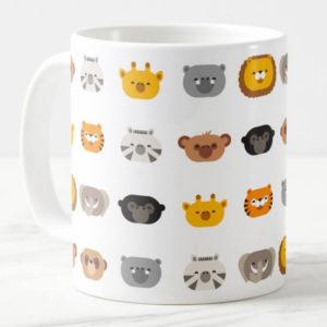 jungle animal friends kids mug cute modern minimalist cartoon