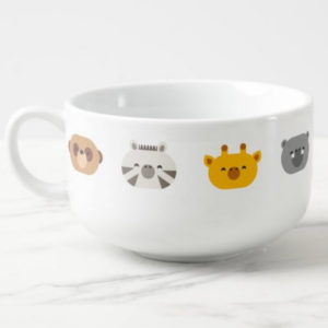 jungle animal friends kids soup cup bowl cute modern minimalist cartoon angled