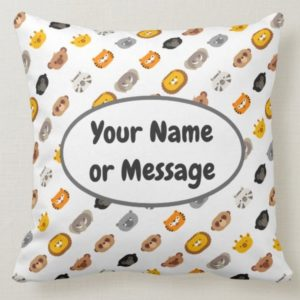 jungle animal friends throw pillow square cute modern minimalist cartoon customized