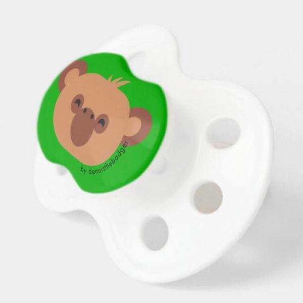 pacifier monkey baby dummy chimpanzee cute animal friends green 2