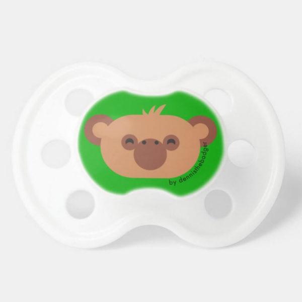 pacifier baby dummy chimpanzee cute animal friends green