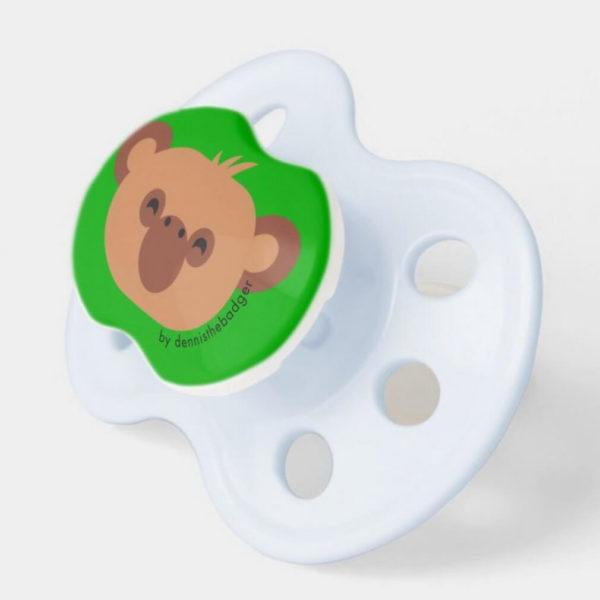 pacifier baby dummy chimpanzee cute animal friends green blue 2