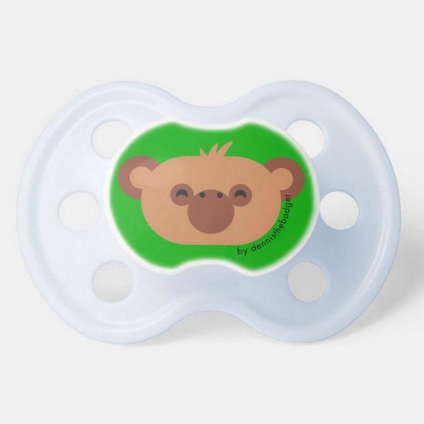 pacifier baby dummy chimpanzee cute animal friends green blue