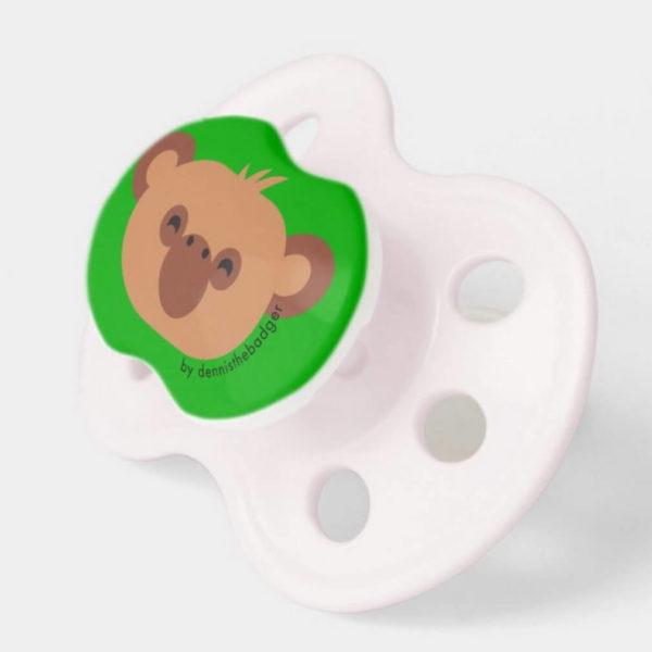 pacifier baby dummy chimpanzee cute animal friends green pink 2