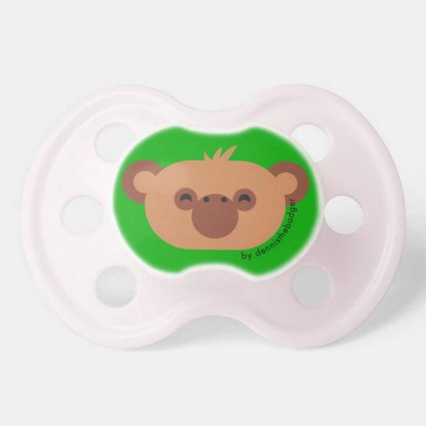 pacifier baby dummy chimpanzee cute animal friends green pink