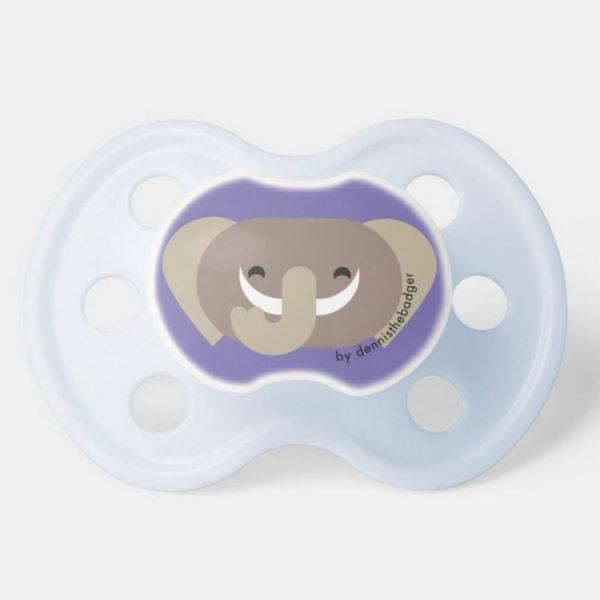 pacifier baby dummy elephant cute animal friends purple blue