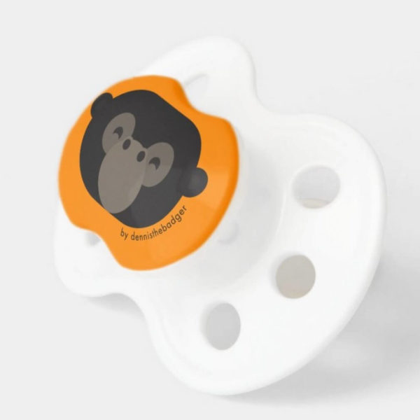pacifier baby dummy gorilla cute animal friends orange 2