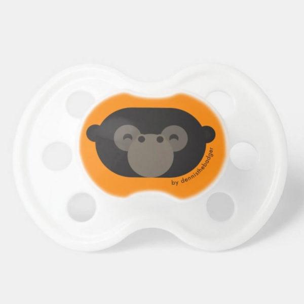 pacifier baby dummy gorilla cute animal friends orange