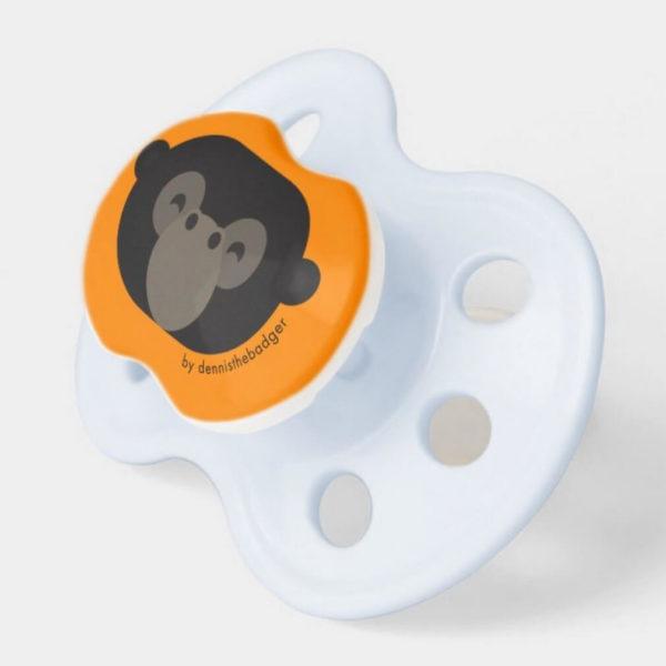 pacifier baby dummy gorilla cute animal friends orange blue 2