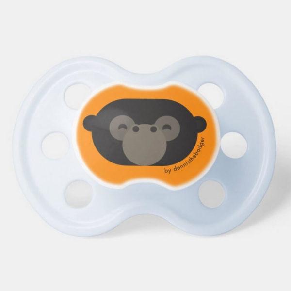 pacifier baby dummy gorilla cute animal friends orange blue