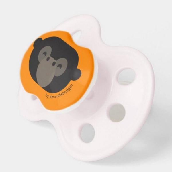 pacifier baby dummy gorilla cute animal friends orange pink 2