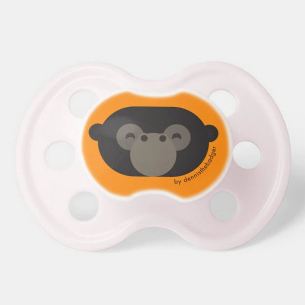 pacifier baby dummy gorilla cute animal friends orange pink