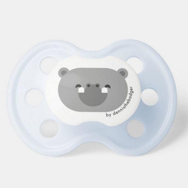 pacifier baby dummy hippopotamus cute animal friends blue