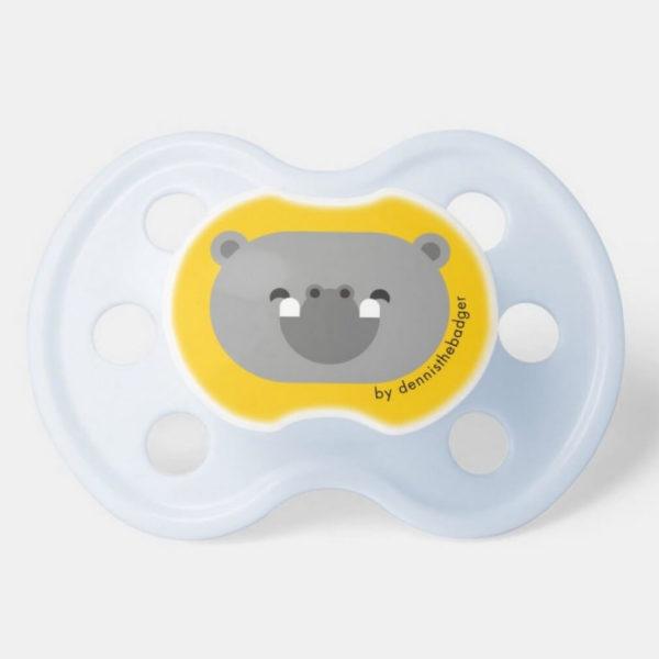 pacifier baby dummy hippopotamus cute animal friends yellow blue