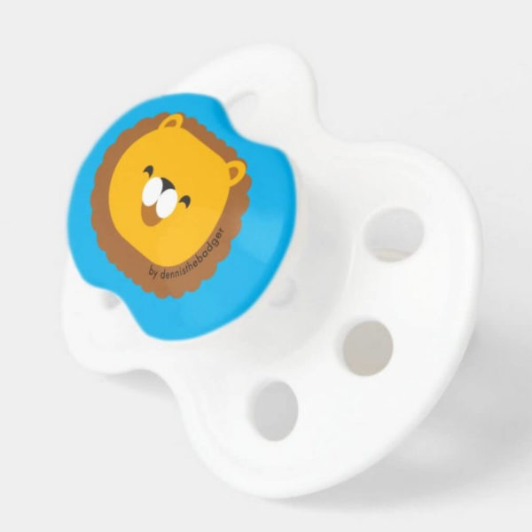 pacifier baby dummy lion cute animal friends blue 2
