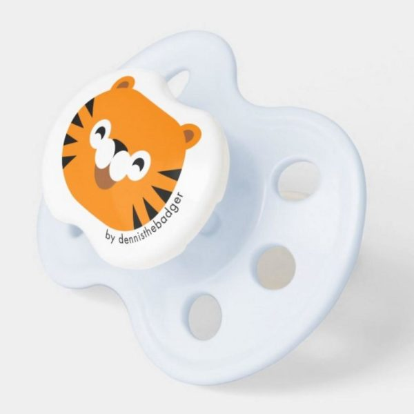 pacifier tiger baby dummy tiger cute animal friends blue 2