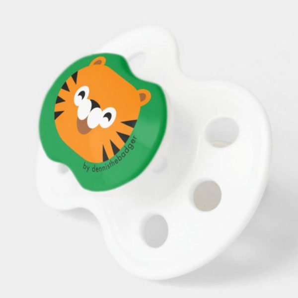 pacifier baby dummy tiger cute animal friends green 2