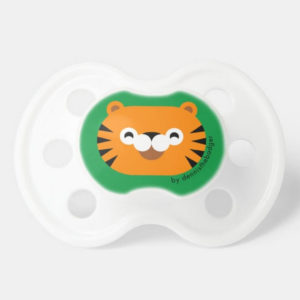 pacifier baby dummy tiger cute animal friends green