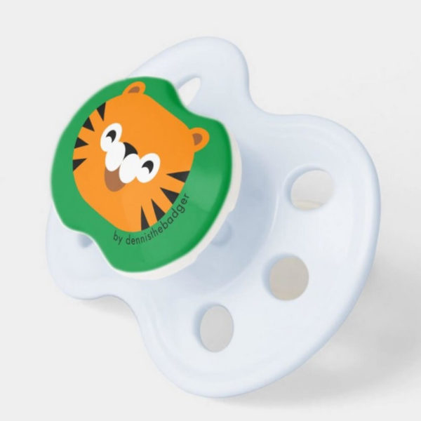 pacifier baby dummy tiger cute animal friends green blue 2