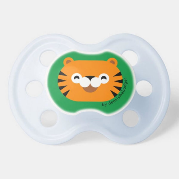 pacifier baby dummy tiger cute animal friends green blue