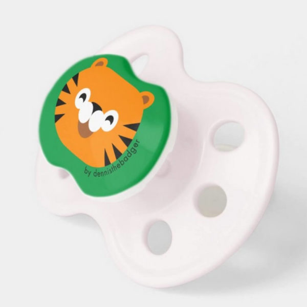 pacifier baby dummy tiger cute animal friends green pink 2