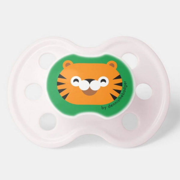 pacifier baby dummy tiger cute animal friends green pink