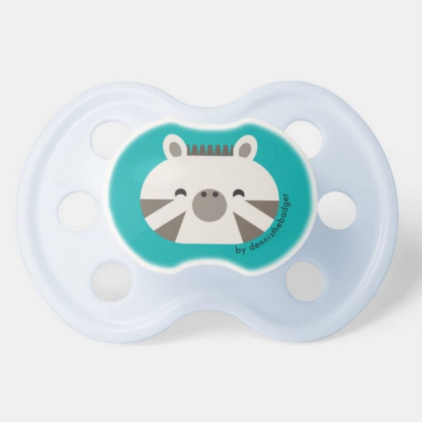 pacifier baby dummy zebra cute animal friends teal blue